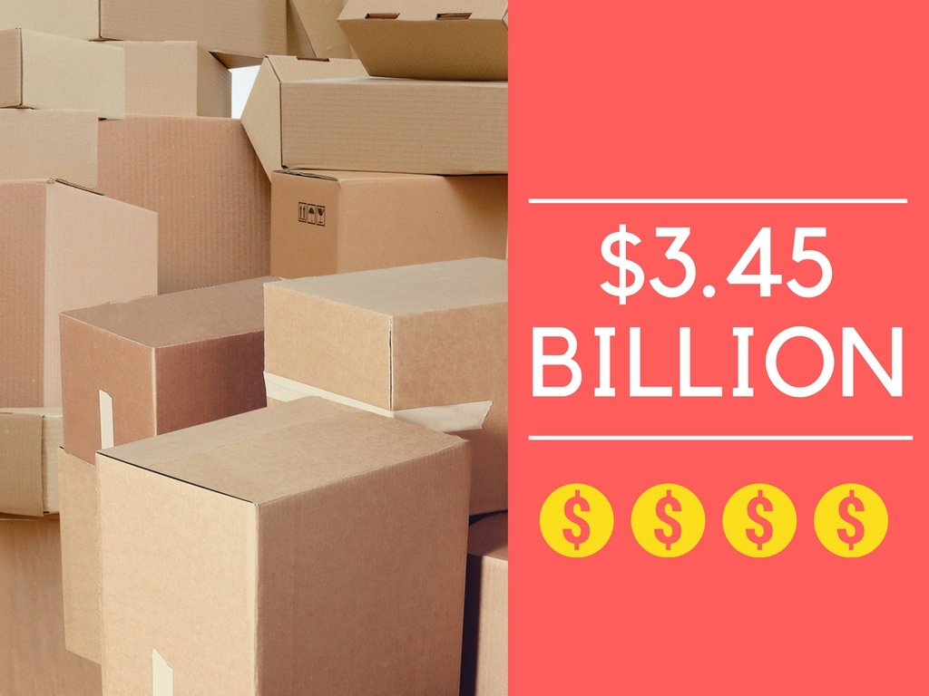 """The text """"3.45 billion"""" next to a huge pile of packages."""