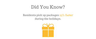 Did you know? Resident pick up packages 25% faster during the holidays.