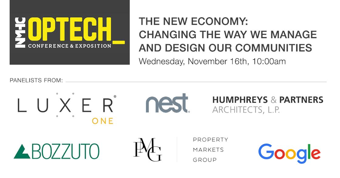 "Six company logos relevant to the panel ""The New Economy: Changing the Way We Manage and Design Our Communities""; Luxer One, Nest, Humphreys & Partners Architects, Bozzuto, Property Markets Group, Google."