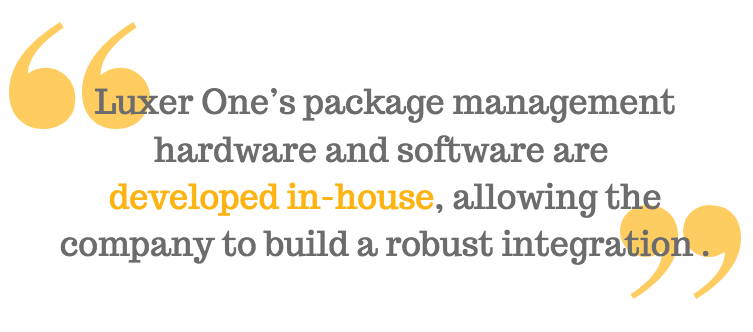Luxer One's package management hardware and software are  developed in-house, allowing the company to build a robust integration using the RealPage Exchange API.