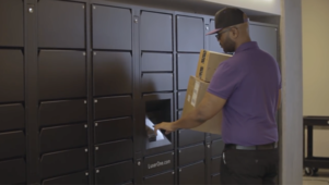 Parcel carriers deliver to Luxer One lockers.