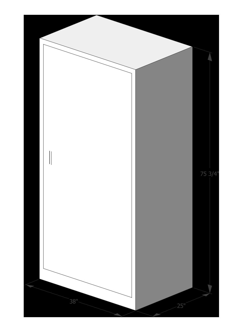 "Blueprint of Luxer One Oversized Package Locker measurements: 38""x 25""x 75 3/4"""