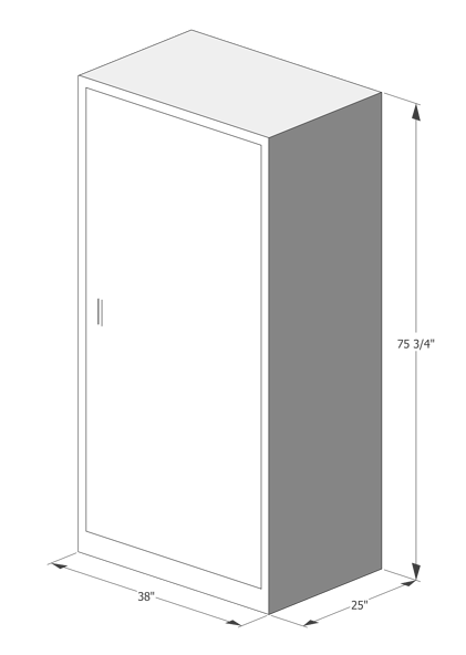 "Blueprint of Luxer One Oversized Package Locker measurements: 38""x 25""x 75 3/4"""